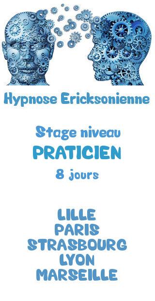 Formation certifiante hypnose ericksonienne niveau praticien lille paris strasbourg lyon marseille