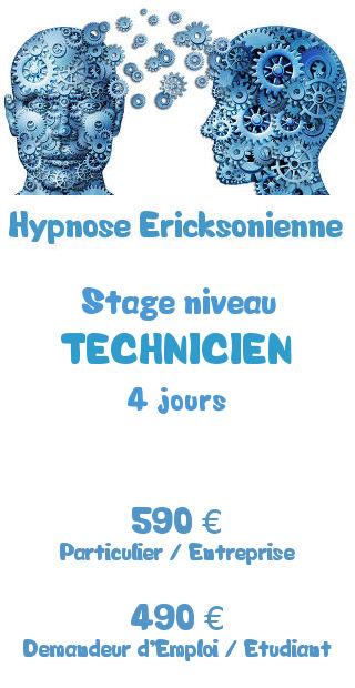 Tarifs de la formation hypnose Ericksonienne niveau Technicien