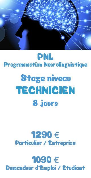 Tarifs de la formation PNL Programmation Neurolinguistique niveau Technicien