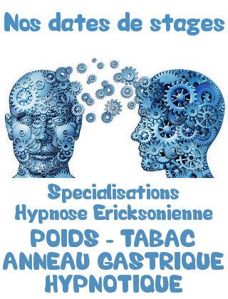 Stage spécialisation hypnose poids tabac anneau gastrique hypnotique Lyon