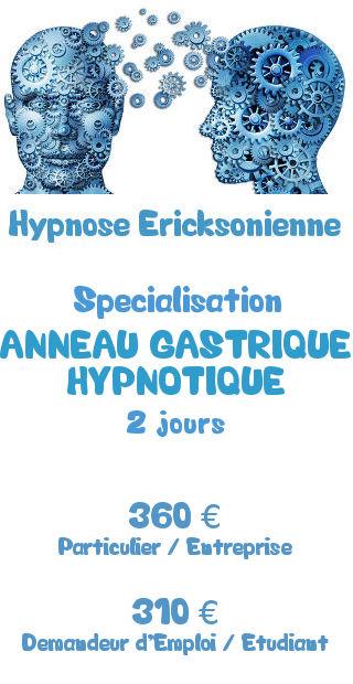 Tarifs de la formation spécialisation Hypnose Ericksonienne anneau gastrique hypnotique